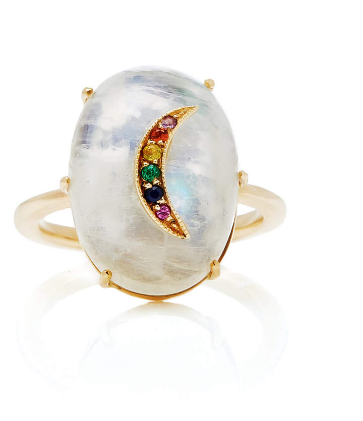 Andrea Fohrman Galaxy Moonstone With Multicolor Crescent Ring