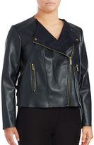 MICHAEL Michael Kors Plus Leatherette Asymmetrical Jacket