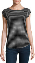 Joie Adelise Striped Cap-Sleeve Linen T-Shirt, Black