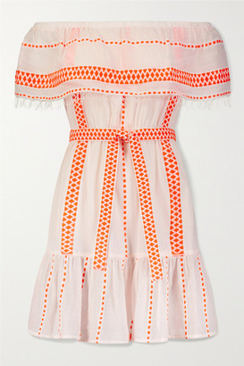 Lemlem Jemari Off-the-shoulder Tiered Striped Cotton-blend Gauze Dress - Bright orange