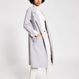 River Island Womens Grey turn-up sleeve knitted duster jacket
