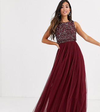 Maya Petite Bridesmaid delicate sequin 2 in 1 maxi dress in wine