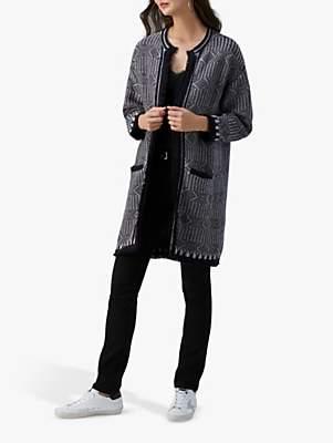 Pure Collection Textured Coatigan, Black