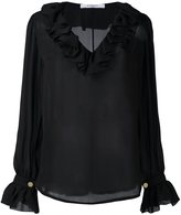 Givenchy ruffle trim semi-sheer blouse