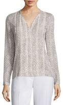 Elie Tahari Gale Pleated Fil Coupe Blouse