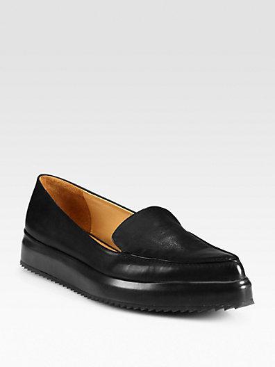 Jil Sander Leather Platform Wedge Loafers