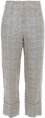 Brunello Cucinelli Cropped Prince Of Wales Checked Linen Straight-leg Pants