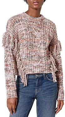 Joie Meghan Mixed Knit Fringe Sweater