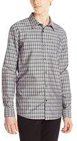 Calvin Klein Men's Liquid Cotton Multi Check Gingham Long Sleeve Woven Shirt