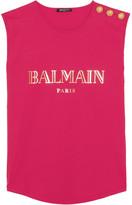 Balmain Button-embellished Printed Cotton-jersey Top - Fuchsia