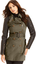 Walter W118 by Baker Long-Sleeve Quilted Faux-Leather Trench Coat