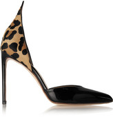 Francesco Russo D'orsay Leopard-print Calf Hair And Patent-leather Pumps - Black