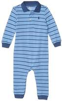 Polo Ralph Lauren Basic Mesh-Polo Coverall-One-Piece-Coverall (Infant) (Fall Blue Multi) Boy's Jumpsuit & Rompers One Piece
