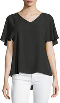 Neiman Marcus V-Neck Flutter-Sleeve Top, Black