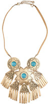 Lydell NYC Golden Floral Bib Necklace w/ Suede Cord & Faux Turquoise