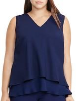 Lauren Ralph Lauren Plus V-Neck Tiered Crepe Top