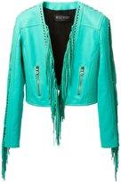 Balmain fringed jacket - women - Cotton/Lamb Skin/Polyester/Viscose - 38