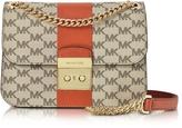 Michael Kors Sloan Editor Medium Center Stripe and Heritage Signature Chain Shoulder Bag