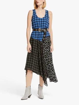 Michael Kors MICHAEL Spring Handkerchief Hem Dress, Vintage Blue/Multi