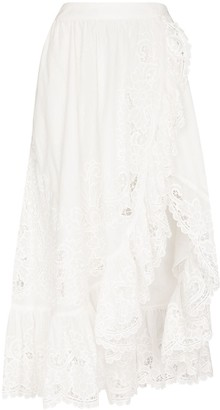 Zimmermann Lulu lace-trim wraparound skirt