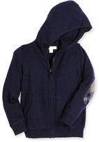 Burberry Hary Hooded Check-Patch Sweatshirt, Navy, Size 4-14