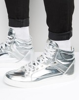Asos High Top Sneakers in Silver With Panels