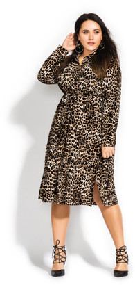 City Chic Leopard Twist Dress - ochre