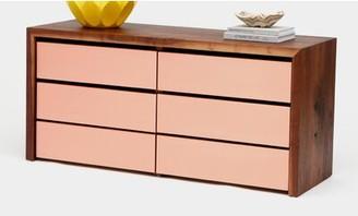 Artless Sqm 6 Drawer Double Dresser Color: Rose Gold