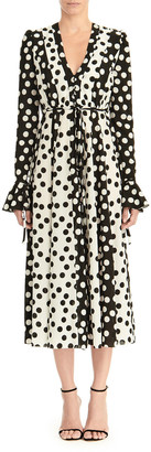 Carolina Herrera Long-Sleeve Polka Dot Midi Dress