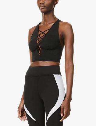 Michi Nero Bustier lace-up stretch-jersey bra