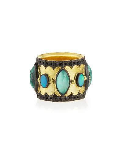 Armenta Green Turquoise & Opal Band Ring, Size 6.5