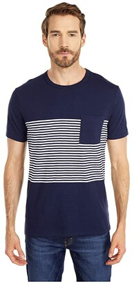 J.Crew Slub Jersey English Feeder Stripe Short Sleeve Pocket Tee (Navy English Feeder Stripe) Men's Clothing