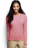 Classic Women's Tall Drifter Cable Crewneck Sweater-Pale Slate Checker Board