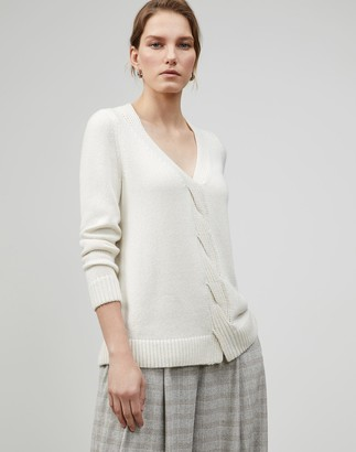Lafayette 148 New York Smoothspun Italian Cashmere-Silk Braided Cable Sweater
