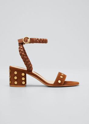 Gianvito Rossi Studded Mixed Leather Ankle-Strap Sandals