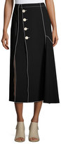 Derek Lam Crepe Side-Button Midi Skirt with Contrast Piping, Black