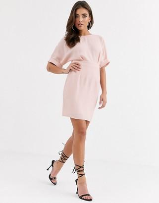 Asos DESIGN wiggle mini dress in blush