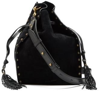 Isabel Marant Taj Small Studded Suede Bucket Bag - Black