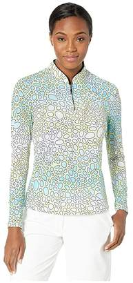 Jamie Sadock Sunsense(r) 50 UVP Bubbles Print Long Sleeve 1/4 Zip Top (Yellow) Women's Clothing
