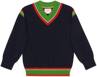 Gucci Children's wool sweater with Web stripe