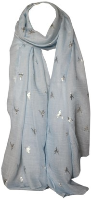 Bullahshah Foil Printed Soft Cotton Bird Print Scarves Shawl Wrap Stole Head Scarf (Pink with Silver)