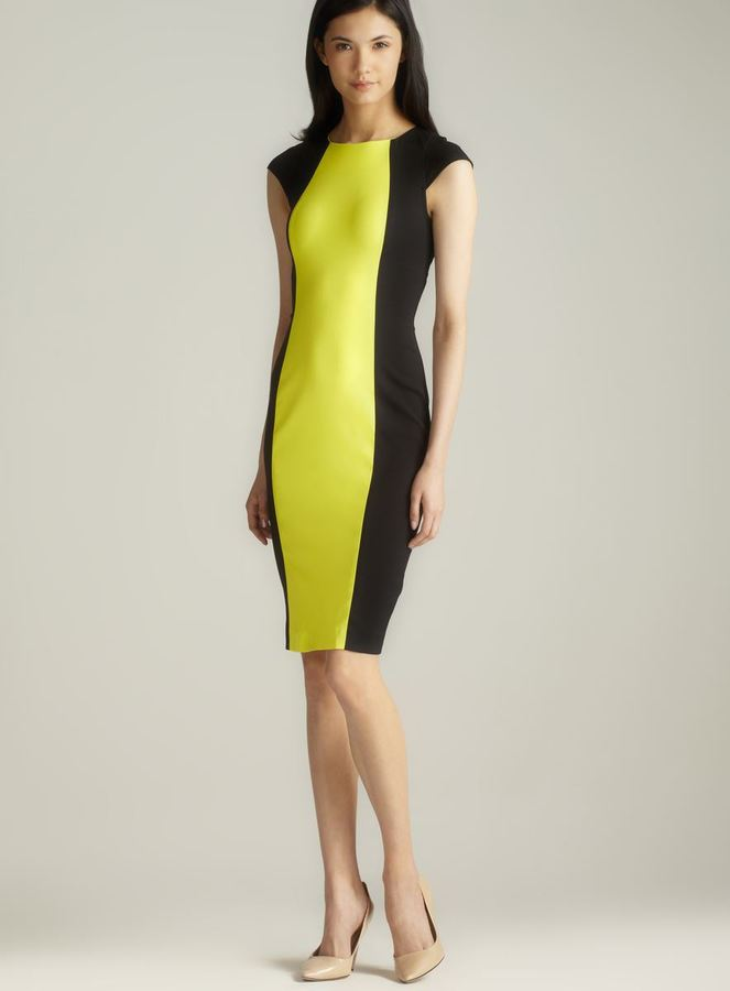 French Connection Scoop Neck Cap Sleeve Colorblock Dress