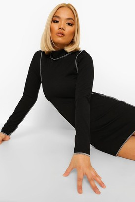 boohoo Petite Contrast Top Stitch Mini Dress