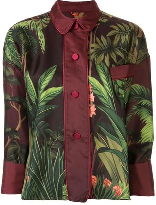 F.R.S For Restless Sleepers Jungle Print Silk Shirt
