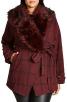 City Chic Plus Size Women's Check Out Coat With Faux Fur Trim