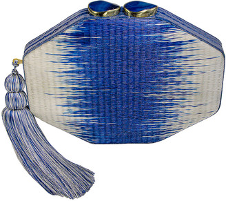 Rafe Sofia Octagon Clutch Bag, Ivory/Blue