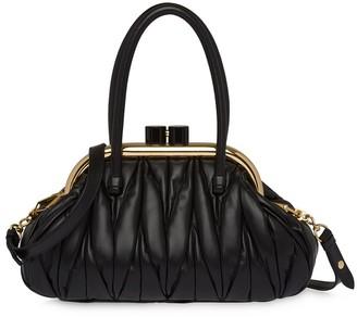 Miu Miu Matelasse-Effect Clasp Tote Bag