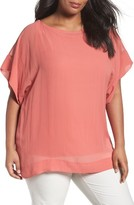 Eileen Fisher Plus Size Women's Sheer Silk Georgette Top