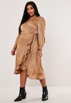 Missguided Plus Size Nude Dalmatian Print Wrap Midi Tea Dress