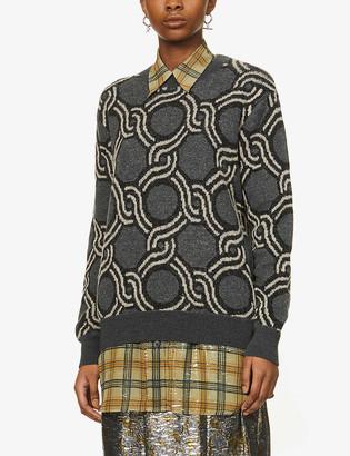 Dries Van Noten Chain-pattern wool and alpaca-blend jumper